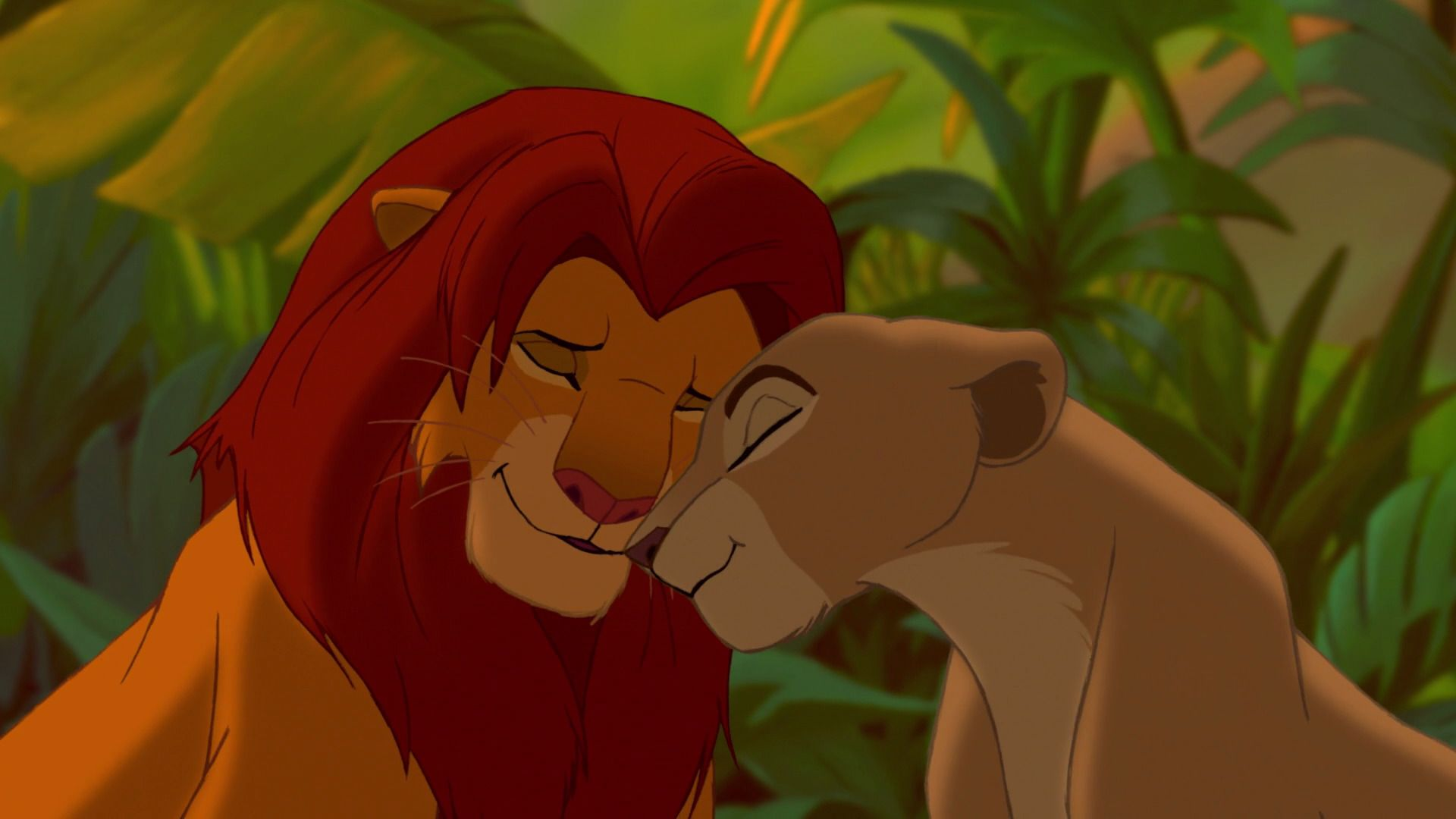 simba and nala nuzzling each other