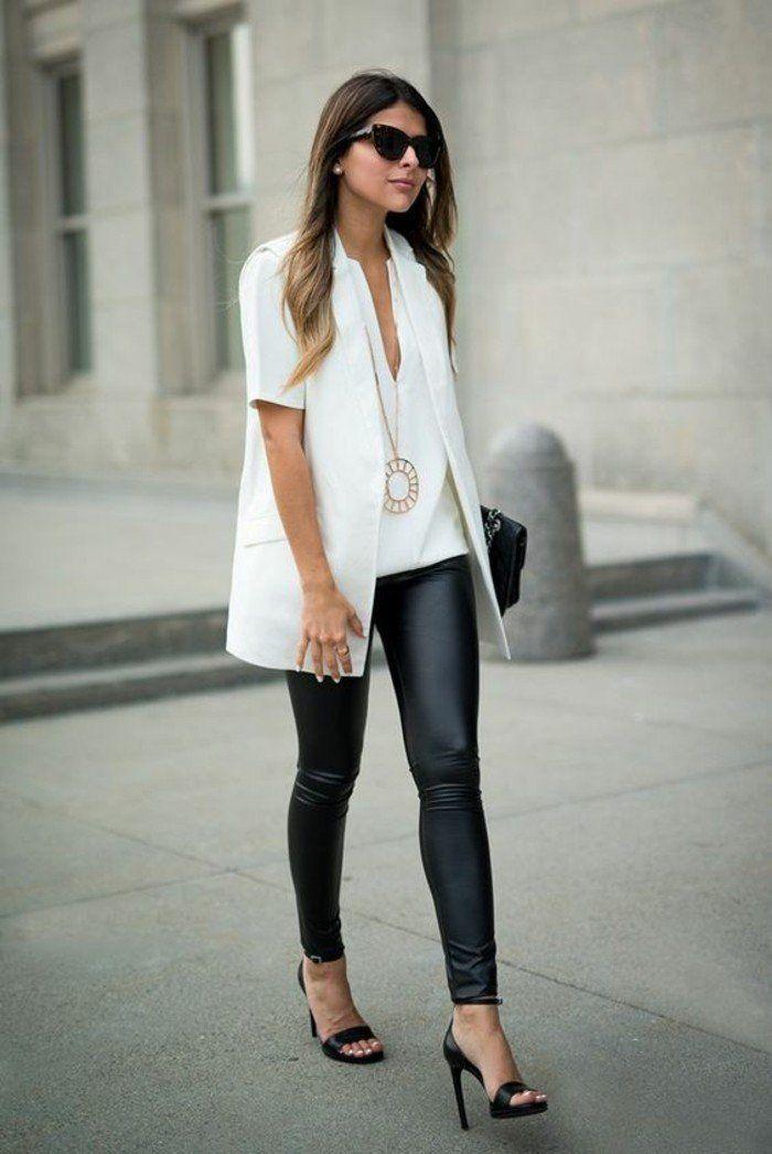 2ebcdbf9f58f1 ▷ 1001+ looks tendance avec le pantalon en cuir femme   clothe   Fashion,  Outfits et Womens fashion