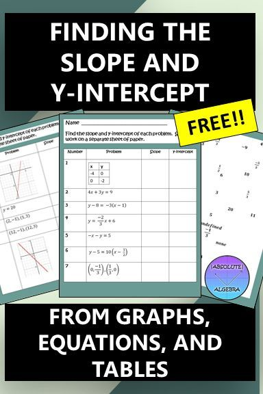 Engage your students with this FREE worksheet alternative that s all about finding the slope and y intercept Your Algebra or middle school students will find the slope and y intercept from graphs tables and equations Answers are scrambled so students can check to see if their solution is there Sign up for my email and receive future freebies discounts and ideas slope y intercept free finding slope from equations finding slope from a table finding Engage your students with this