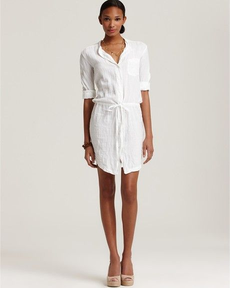 cfed93a9eb3 James Perse White Linen Shirt Dress with Drawstring Waist ...