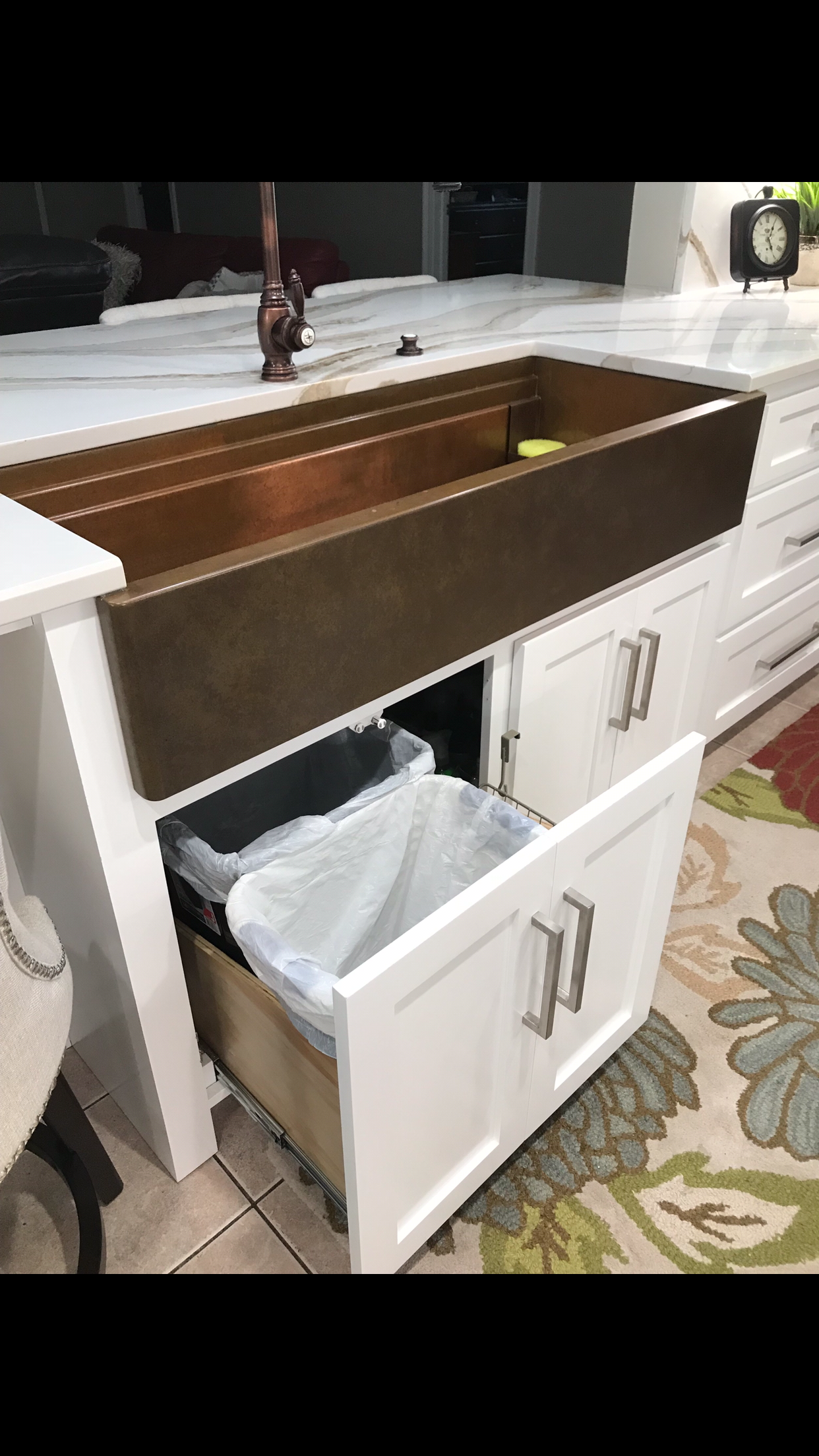 Copper Farmhouse Sink 48 Inches White Shaker Style Cabinets