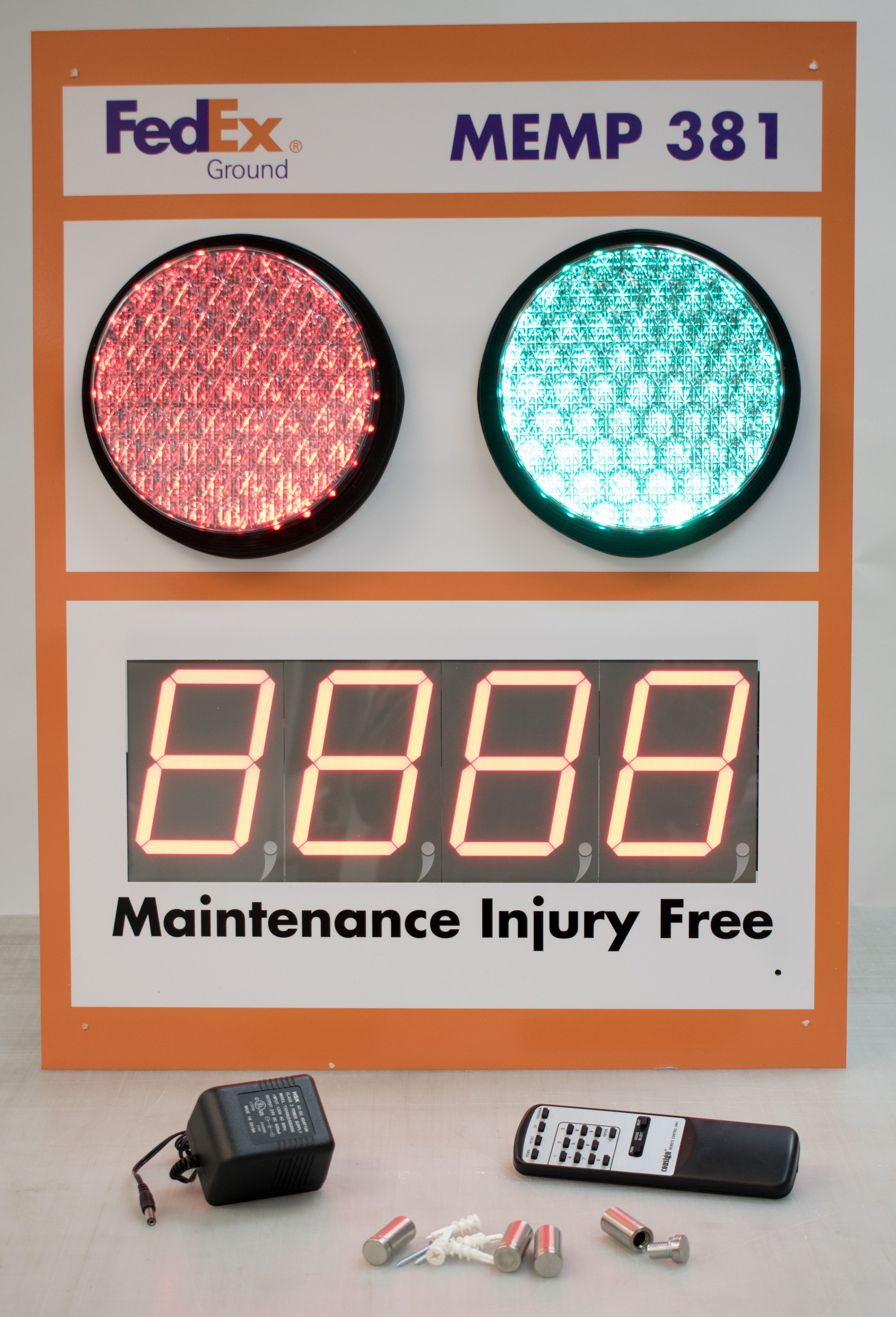 """Stoplight Days Since Last Accident Sign with 5"""" Counter"""