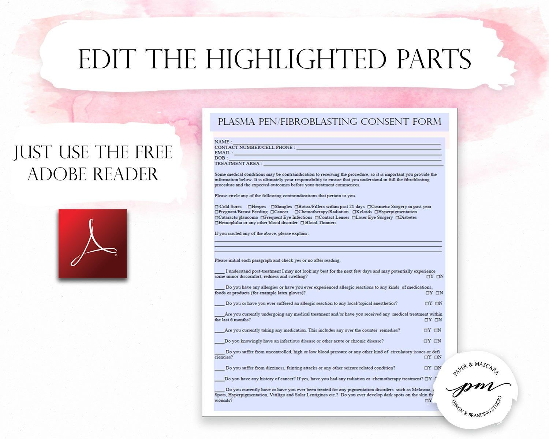 Fibroblast Client Forms Fibroblast Consent Form Plasma Pen Pre And Post Care Instructions Editable Pdf Pre And Post Consent Forms Plasma