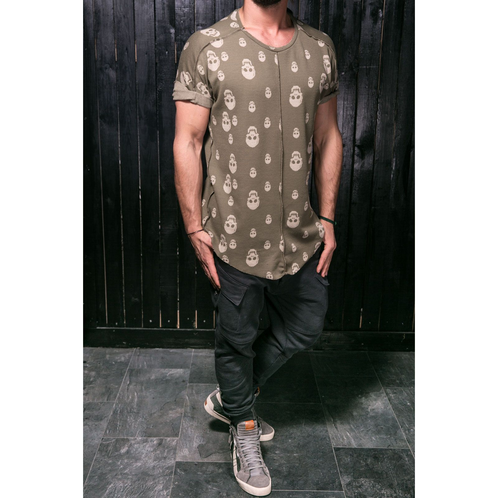 Men's T-Shirt Street Fashion Oversized Fit Soft Fabric Reverse Skulls Print 2064 | eBay