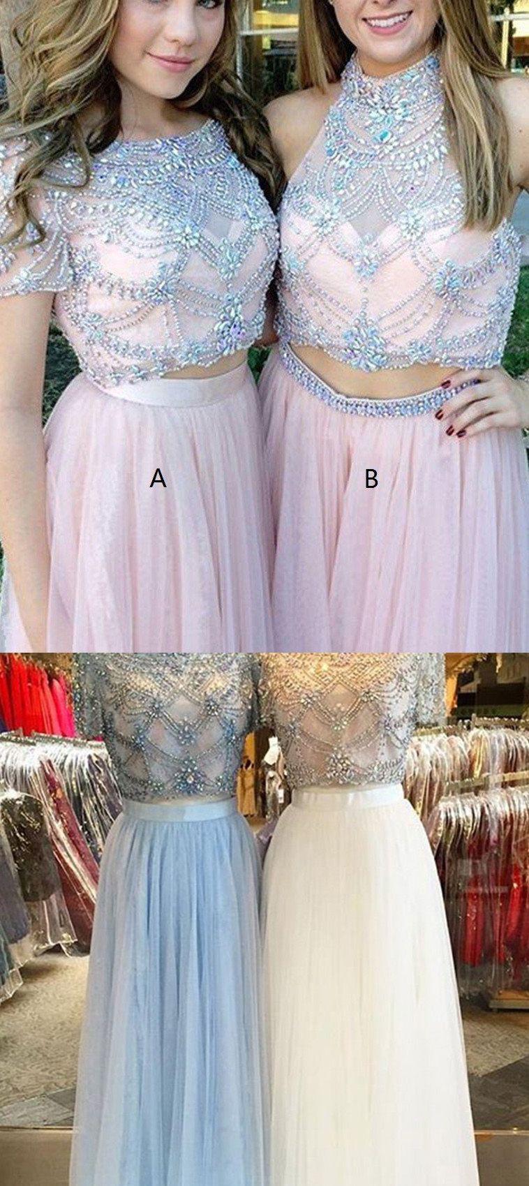 Dazzling champagne long evening prom dress with zipper rhinestone