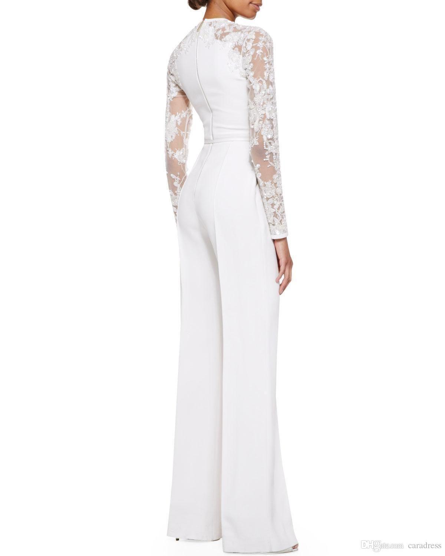 6dc939ec30d Modest White Elie Saab Lace Long Sleeves Jumpsuit Pant Suits Jumpsuit  Embellished Women Formal Evening Wear Custom Special Occasion Dresses
