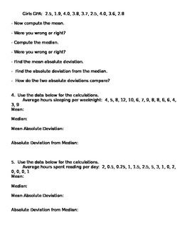 Mean Absolute Deviation Worksheet | Math-Data and Graphing ...