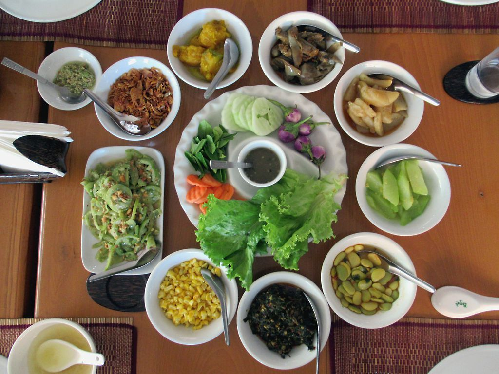 A typical Burmese meal would include light soup, white