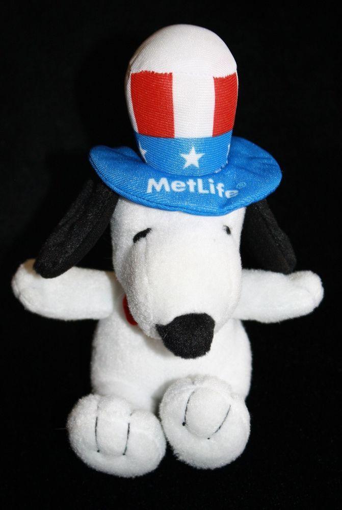 "Peanuts MetLife 6"" Plush Snoopy Dolls Uncle Sam Patriotic Hat Free Shipping! 2"