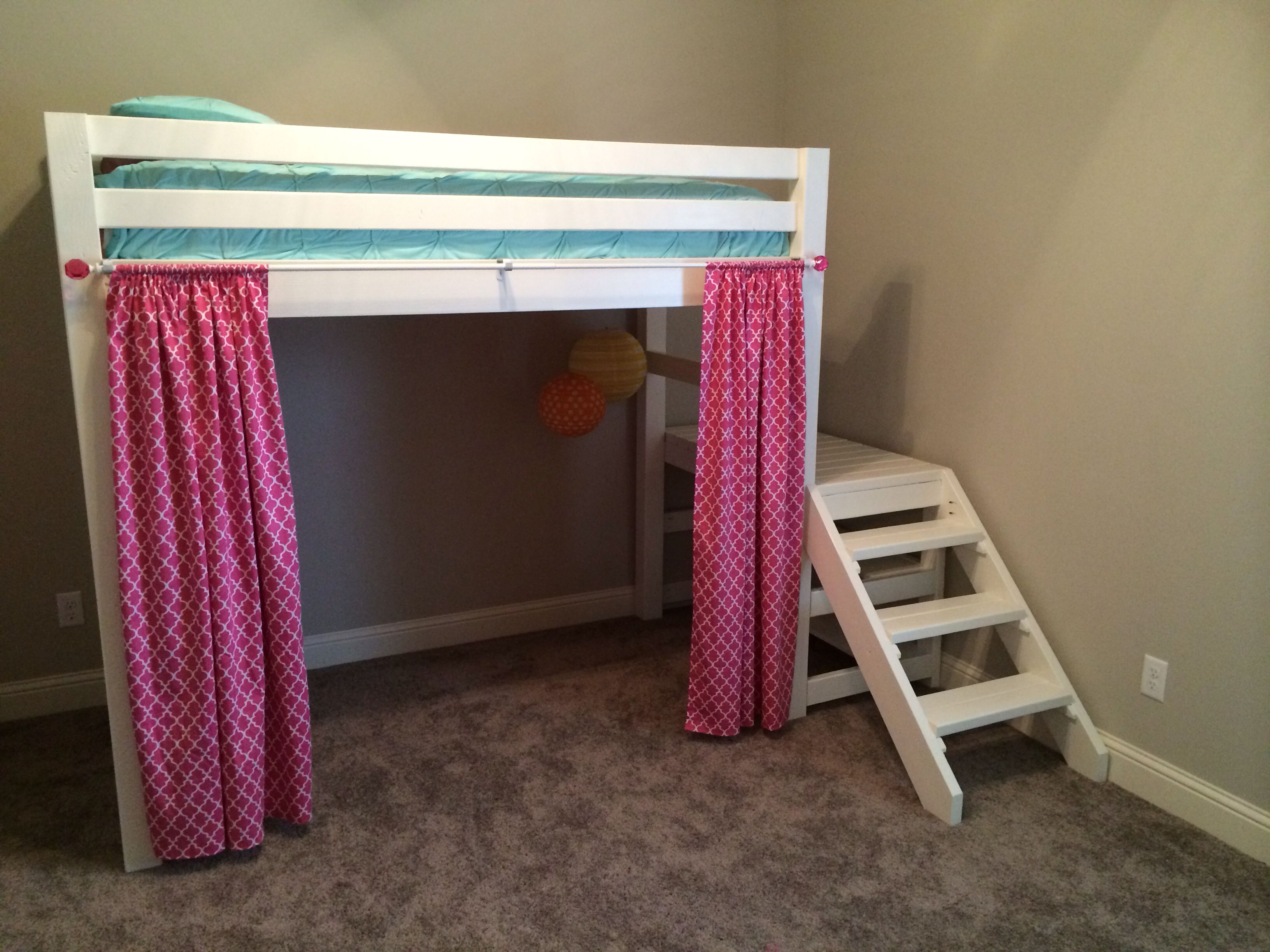 Loft bed with slide plans  Anna White style loft bedjakes bed to buildbut stained  Boys