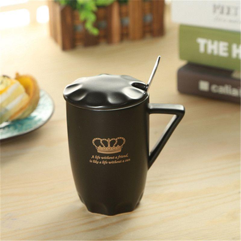 1 Set Cup Lid And Spoon 2017 New Crown Shape Tea Milk Coffee Mugs Ceramic