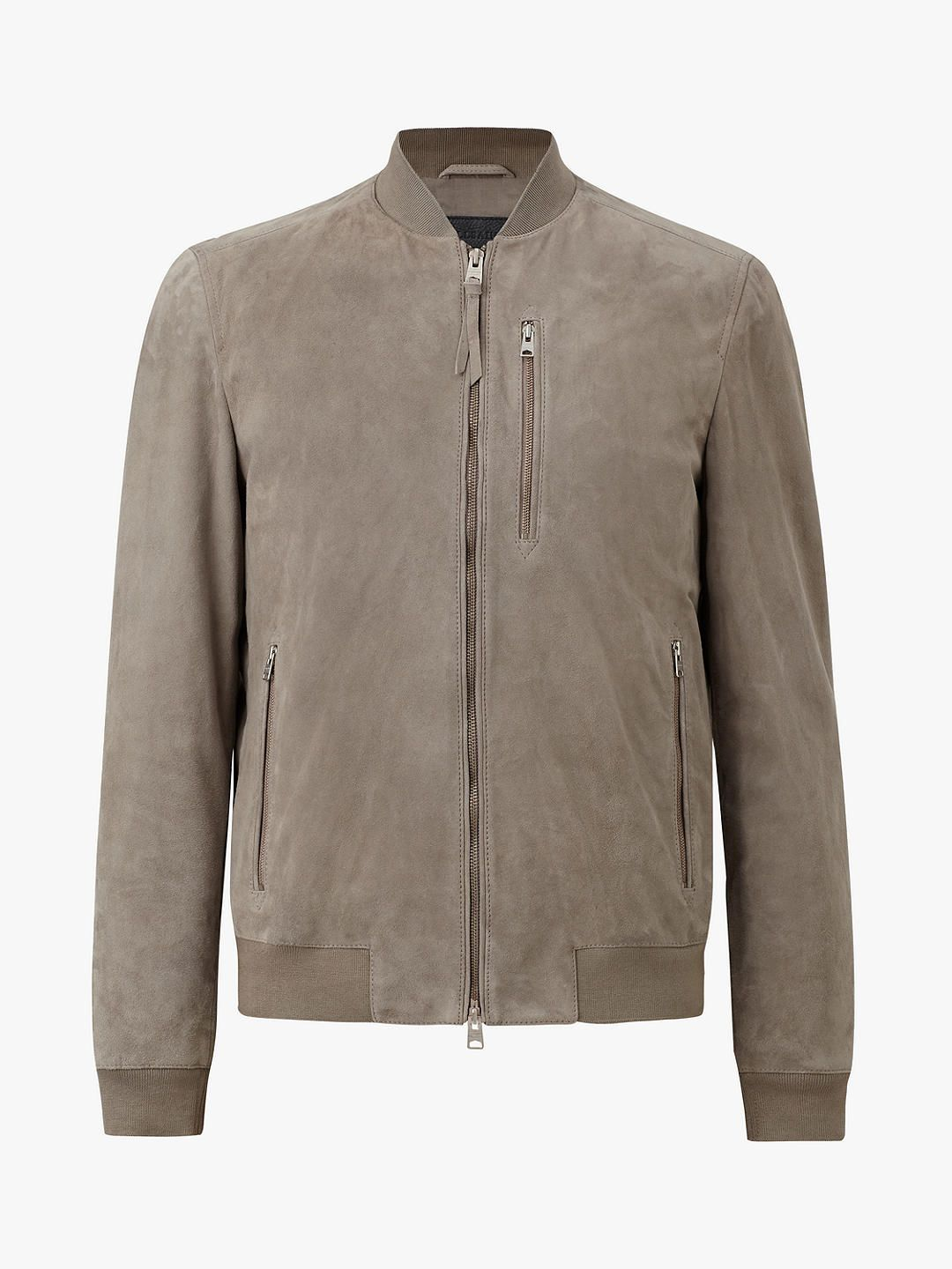 db6d23f34 AllSaints Kemble Suede Slim Fit Bomber Jacket, Light Khaki Green in ...