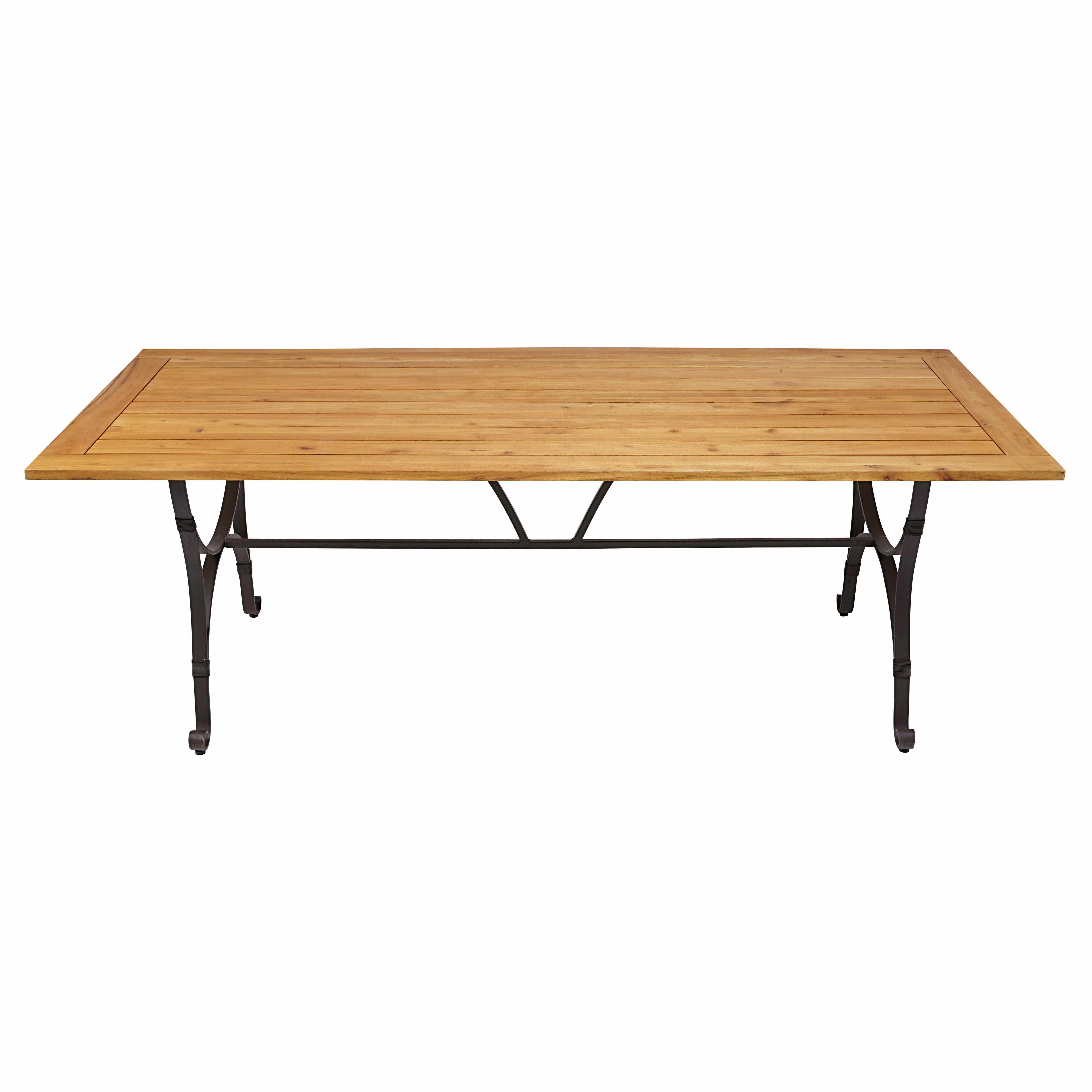 Gartentisch aus massivem Robinienholz und dunkelbraunem Metall für 8 ...