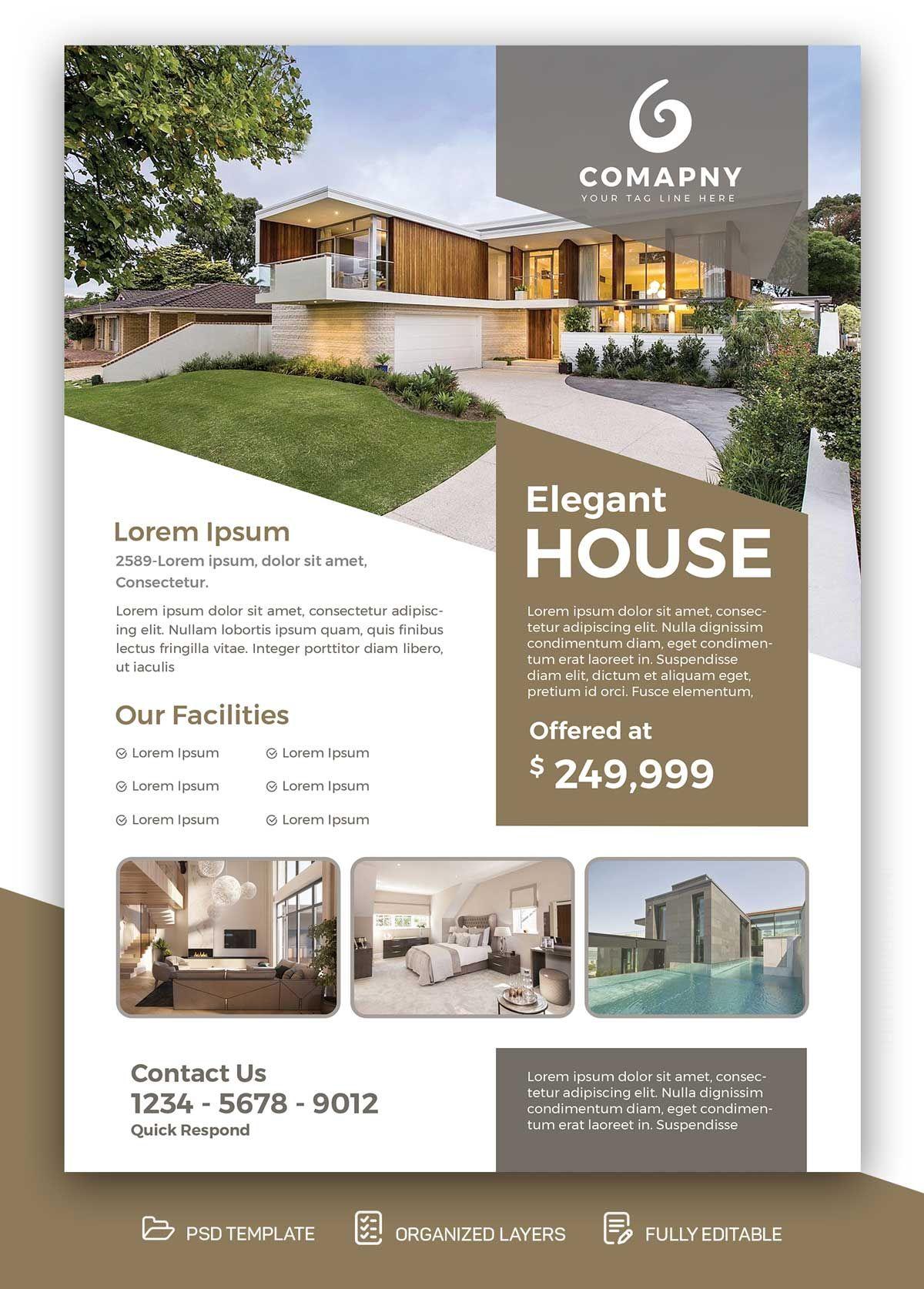 Properties For Sale Real Estate Free Psd Flyer Flyer Design Layout Free Psd Flyer Real Estate Marketing Design