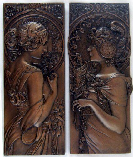 PAIR - Mucha Style Bronze Wall Plaques Art Nouveau Wall Art Sculptures £36.95