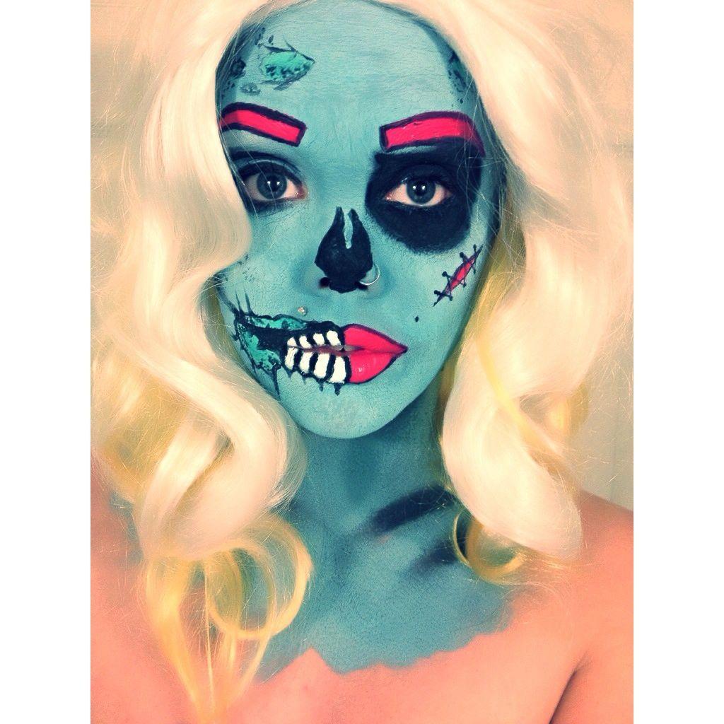 First attempt at Pop Art Zombie Halloween makeup :) - Imgur ...