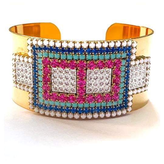 8deeccba36c79e Chunky rainbow cuff bracelet made with 14KT gold plated brass, Austrian  crystal, and vintage