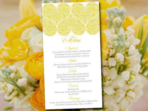 Heart Wedding Menu Template Instant Sunshine Yellow Printable With All My