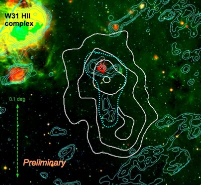 Multicolor infrared (red/green/blue=24/8/4 micro-meter, SPITZER Space Telescope, Wachter et al., 2007) and radio (VLA, Kim & Koo 2002) image of the environment of SGR 1806-20 / C1 1806-20 (located at the red spot with the black cross). Cyan contours represent radio emission. The dotted line indicates the radio nebula G10.0−0.3 as given by Kulkarni et al. (1994). The white contours illustrate the TeV gamma ray source shown in Fig. 3.  (credit: H.E.S.S. collaboration)
