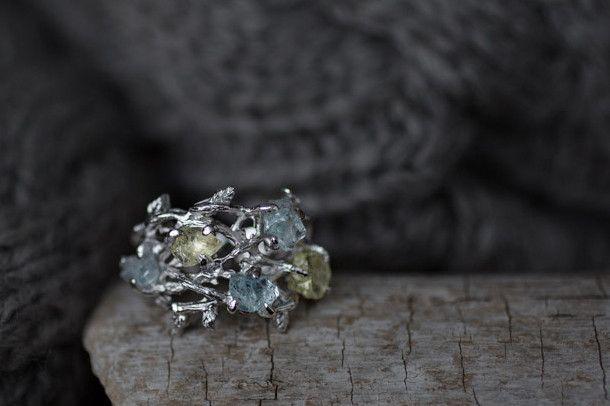 Crown Aquamarine and Lemon Quartz Ring