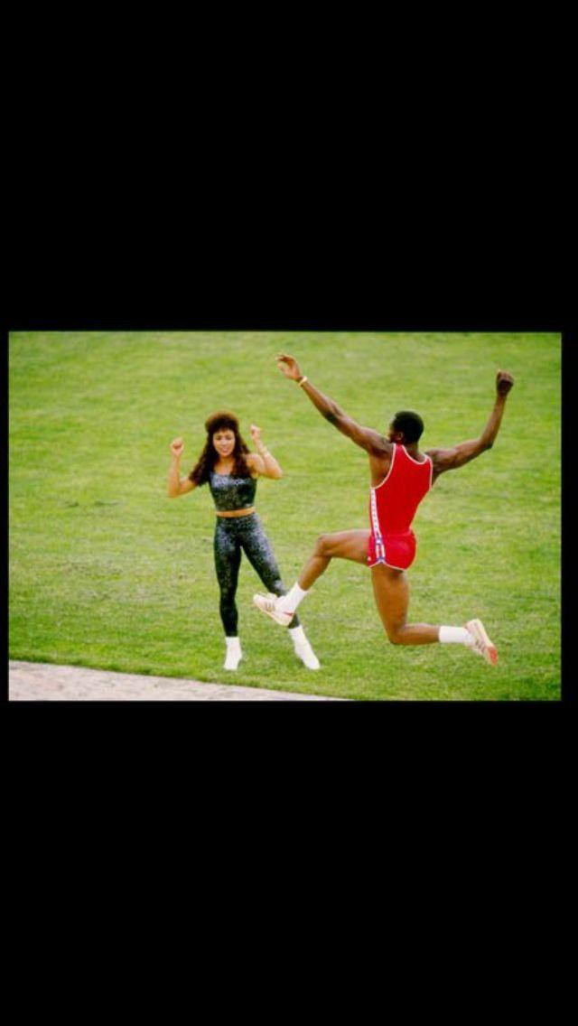 Flojo & Al Joyner aka mommy & daddy training at track practice in the 80's