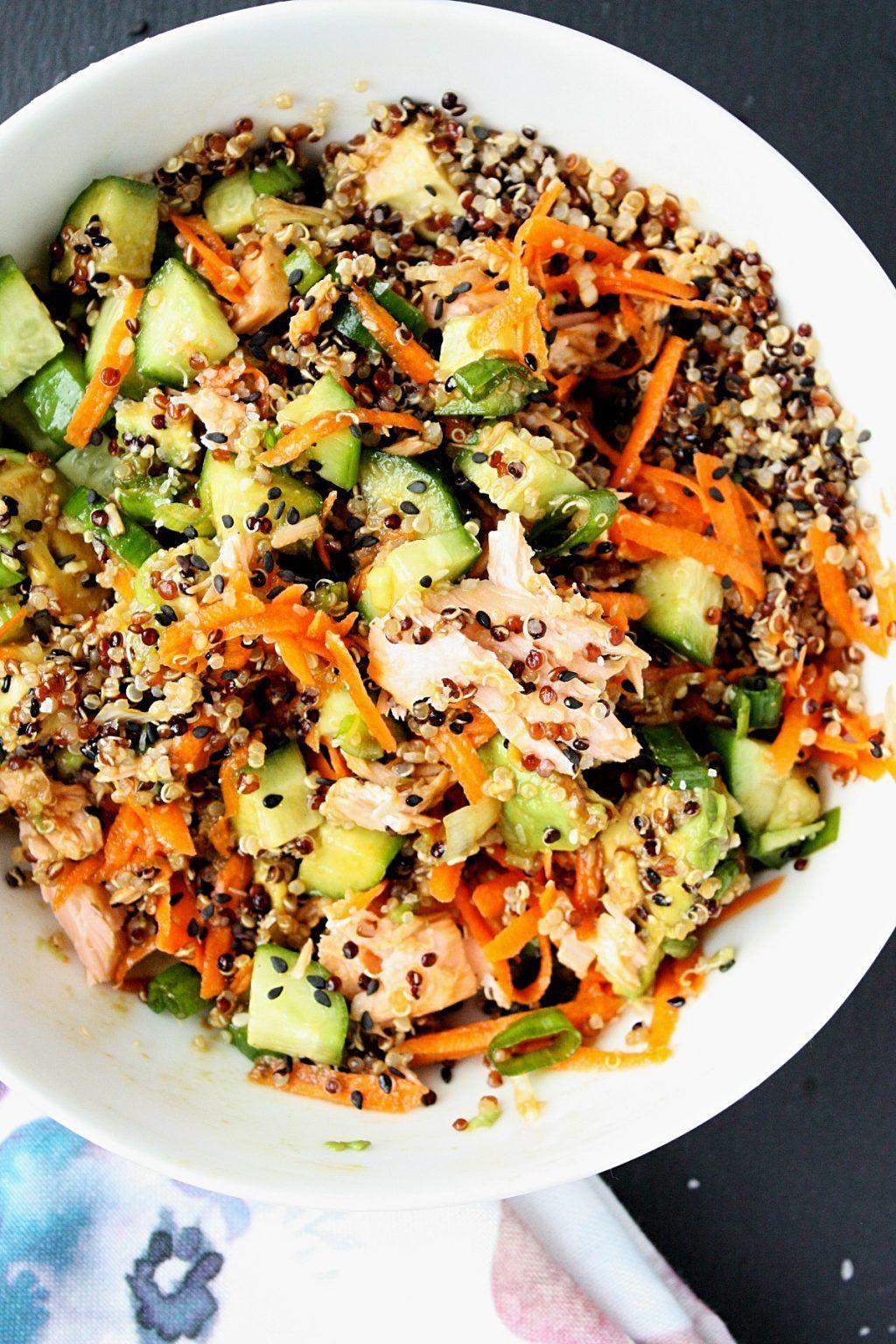 Salmon poke bowl recipe, Quinoa recipes ...