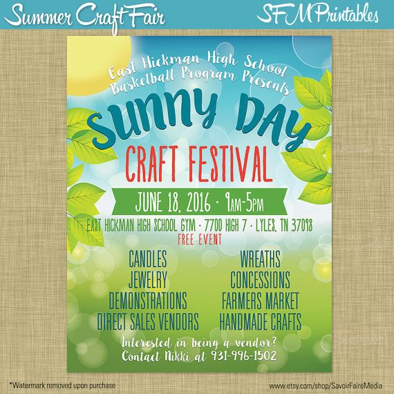 Summer Craft Bazaar Fair Market Expo Invitation Poster \/ Spring - free fundraising flyer templates
