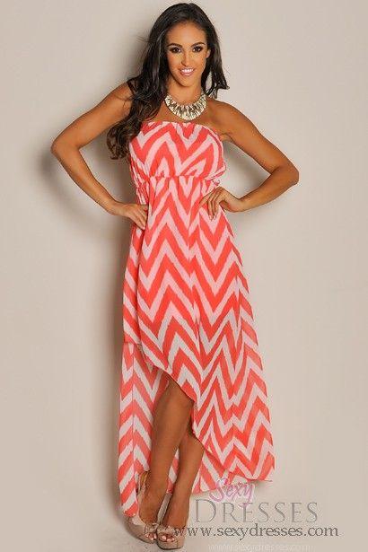 Trendy Coral Chevron Diagonal High Low Dress | High low, High low ...