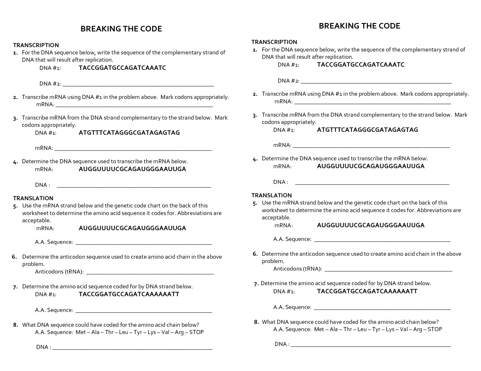 Breaking the Code Worksheet Answers practice