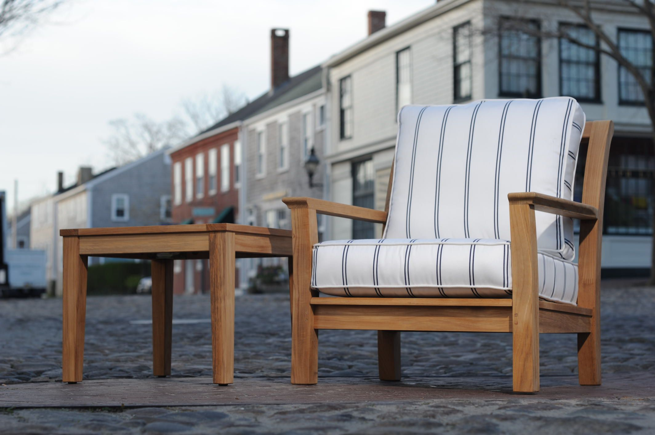 Few experience deep seating Kingsley Bate Chelsea in the middle of Main St Nantucket