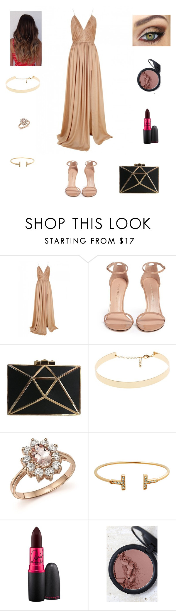 """""""Gold look"""" by viip-blackjack ❤ liked on Polyvore featuring The 2nd Skin Co., Stuart Weitzman, Bloomingdale's, MAC Cosmetics and Sigma"""