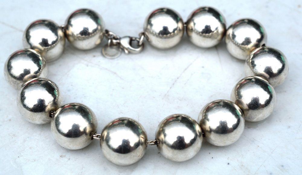 2252a3113 ESTATE TIFFANY & CO. STERLING SILVER EXTRA LARGE BEAD BRACELET-925-14mm-T&CO.  #TiffanyCo #Beaded