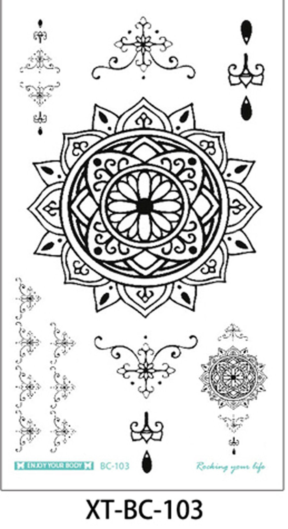 Product Information - Product Type: Tattoo Sheet Set Tattoo Sheet Size: 21cm(L)*15cm(W) Tattoo Application & Removal Instructions chandelier lotus jewelry sternum underboob tattoo
