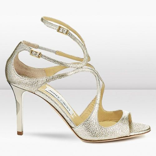 Bridal Shoes Usa: Jimmy Choo Ivette 85mm Champagne Glitter Leather Sandals