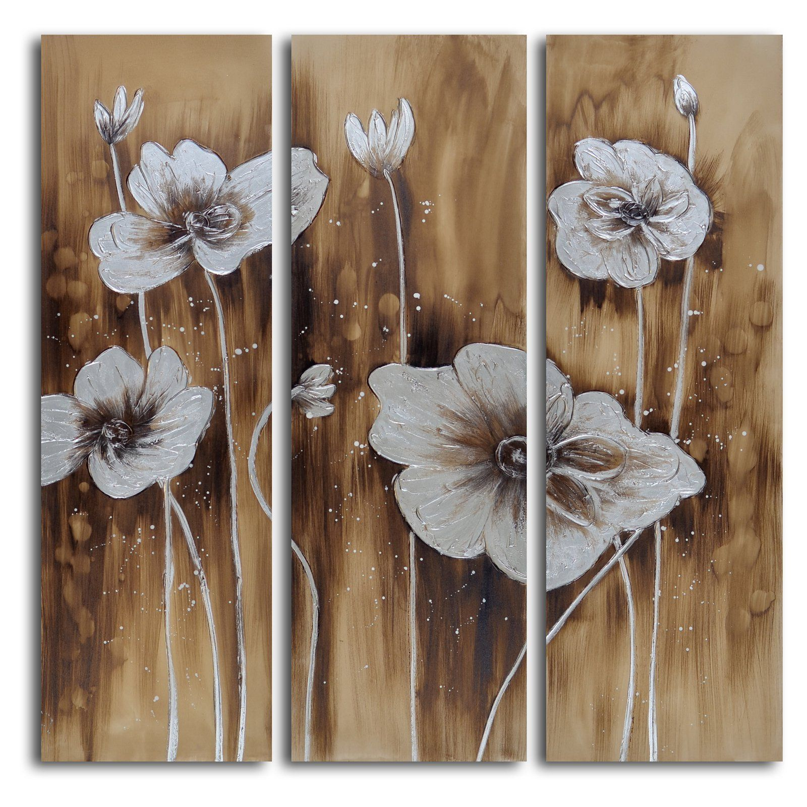 Set Of 3 Wall Art Abstract Floral Butterfly Blue Art Framed Paintings On Canvas Gold Art Heavy Textured 3 Piece Wall Art Cuadros Abstractos Painting Frames Canvas Painting 3 Piece Wall Art