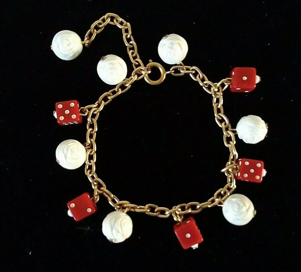 Vtg 1950s Red Charm Bracelet