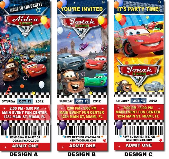 Cars 2 Ticket Invitation Template For Free Projects to Try - free ticket invitation template