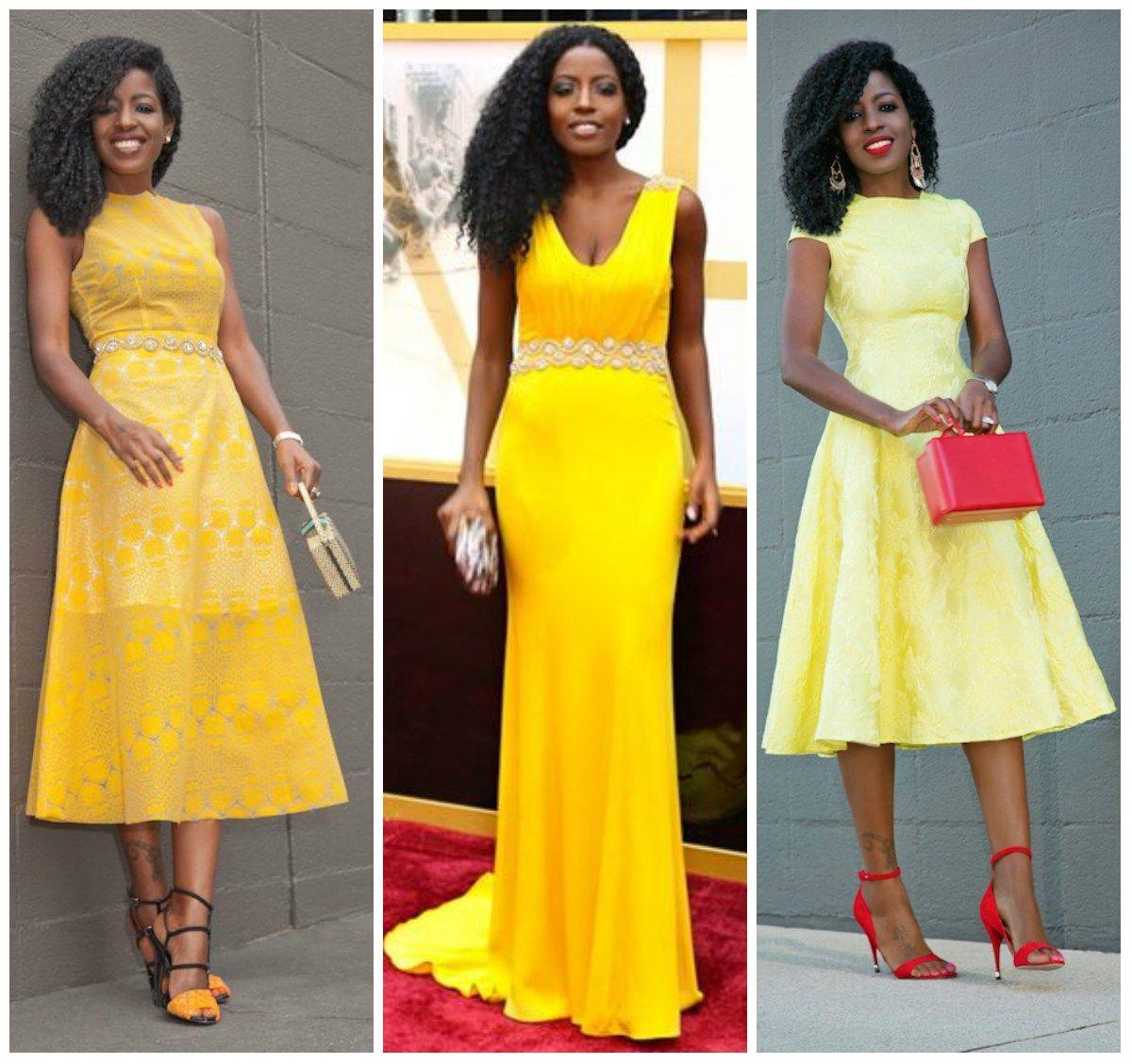 How to look pretty in a yellow dress like folake afrocosmopolitan