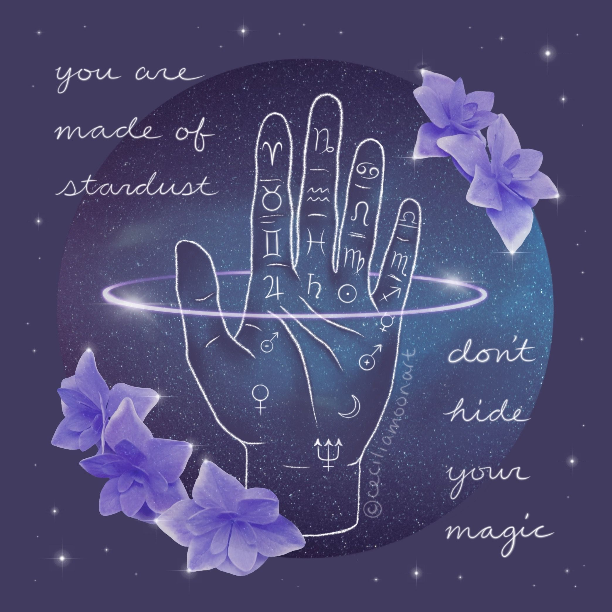 Celestial Palmistry Hand Astrology Art with Empowering Spiritual Quote