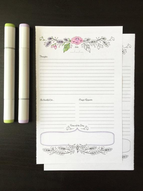 prayer journal printable daily devotional template bullet journal