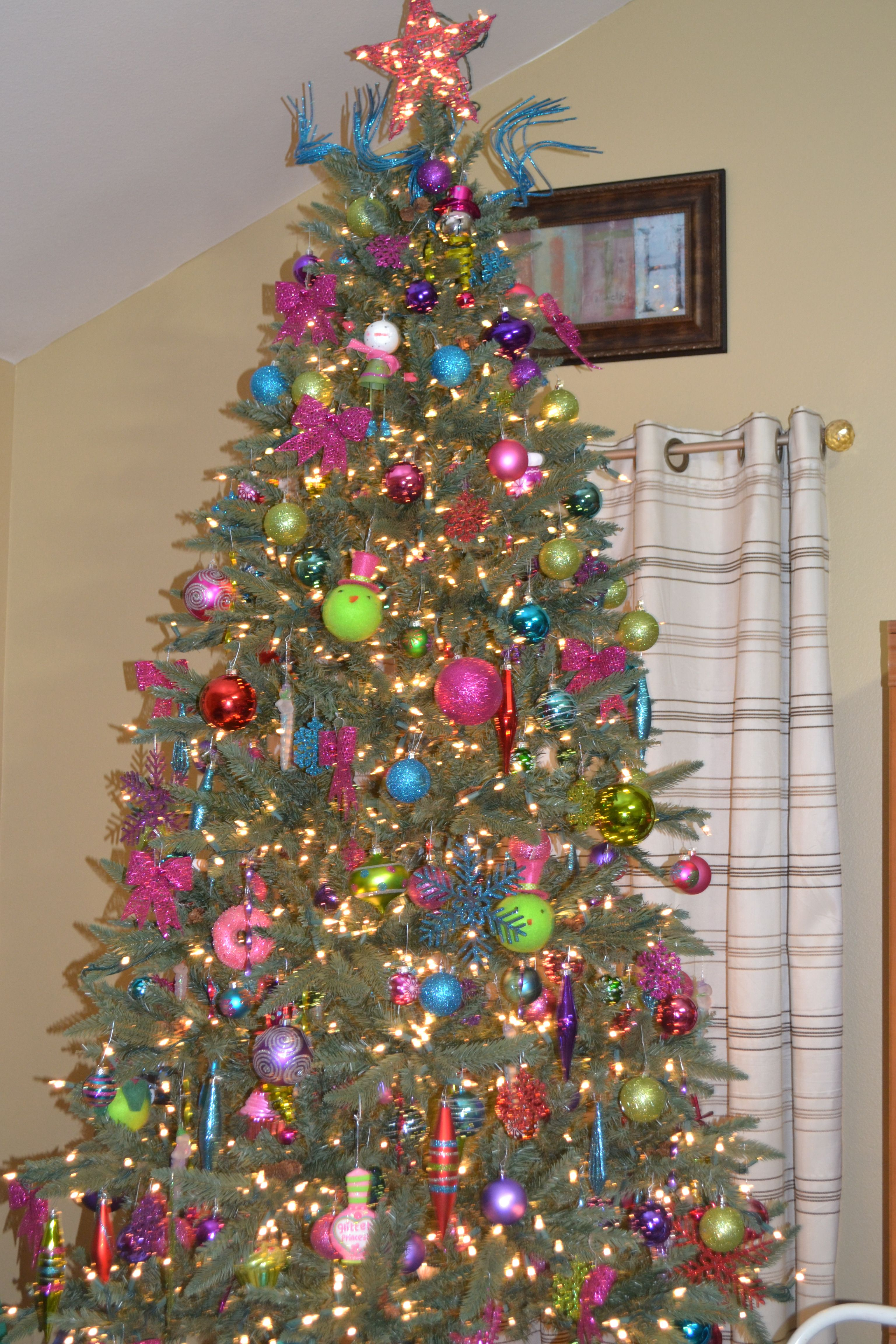 Christmas Tree With Pink Purple Lime Green Blue And Red Christmas Christmas Purple