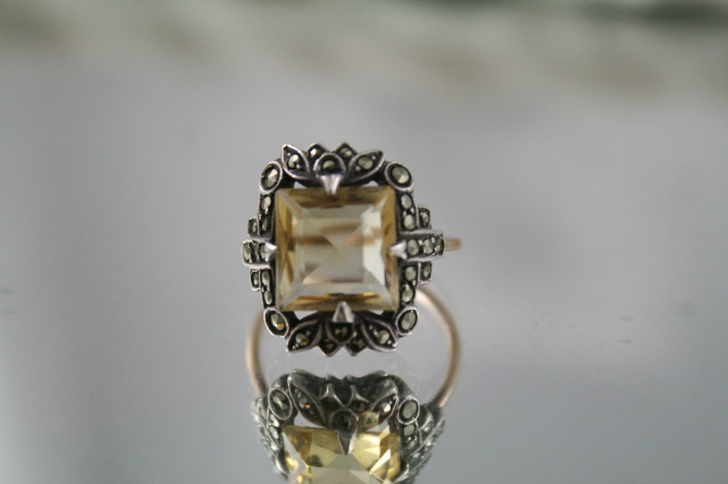 Antique Victorian Art Deco genuine solid 9k 375 rose gold ring, large 4 carat cut citrine silver setting marcasites USA size 7 by antiquevintagenstuff on Etsy