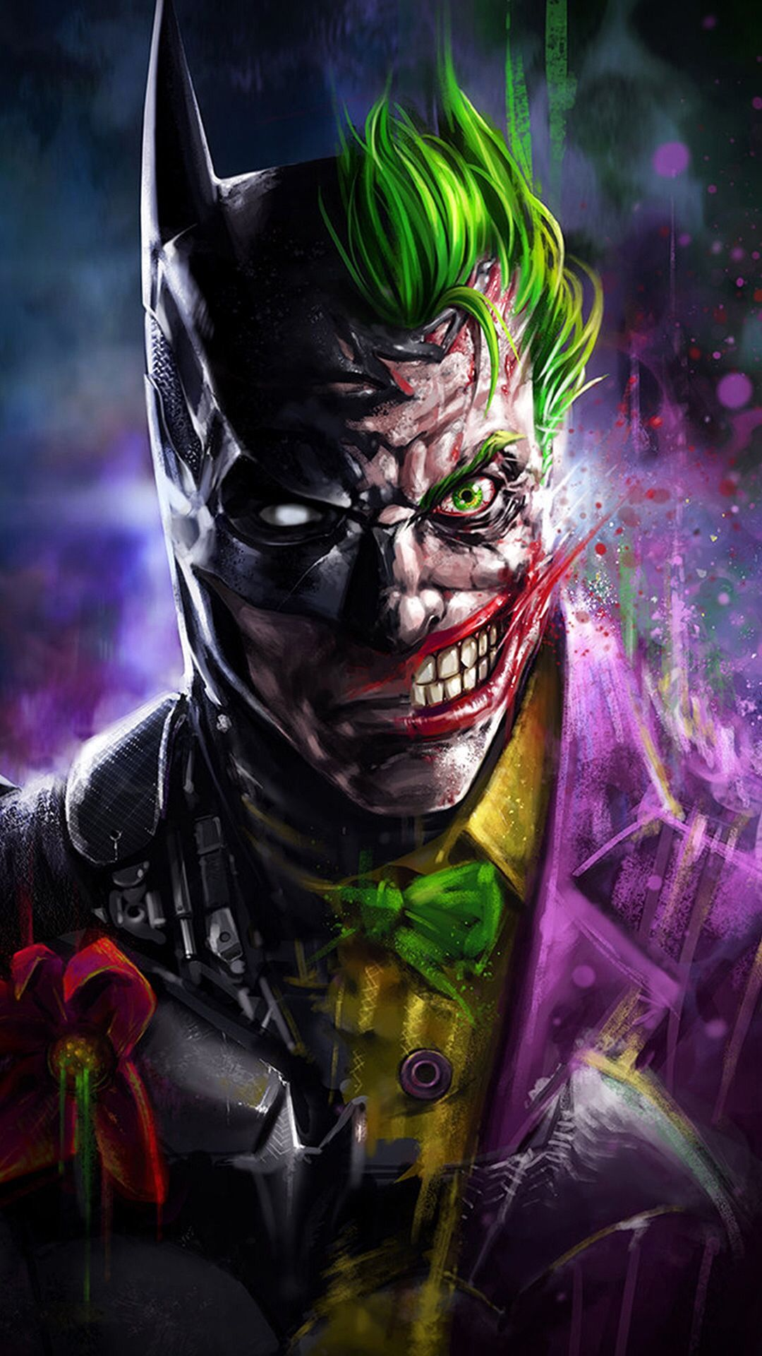 Joker Wallpaper Awesome Wallpapers Two Faces With Batman Merge Together Joker Wallpapers Batman Joker Wallpaper Joker Art
