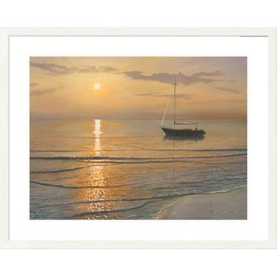 "Global Gallery 'Coastal Mattino Sul Mare' by Adriano Galasso Framed Graphic Art Size: 32"" H x 40"" W x 1.5"" D"