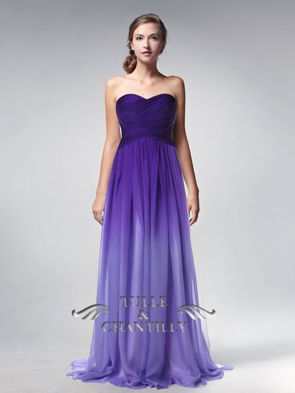 dbb2fccc394 Purple Ombre Sweetheart Neck Long Chiffon Prom Dress Bridesmaid Dress