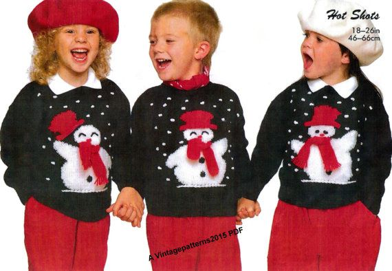 Childs Snowman Picture Sweater Jumper By