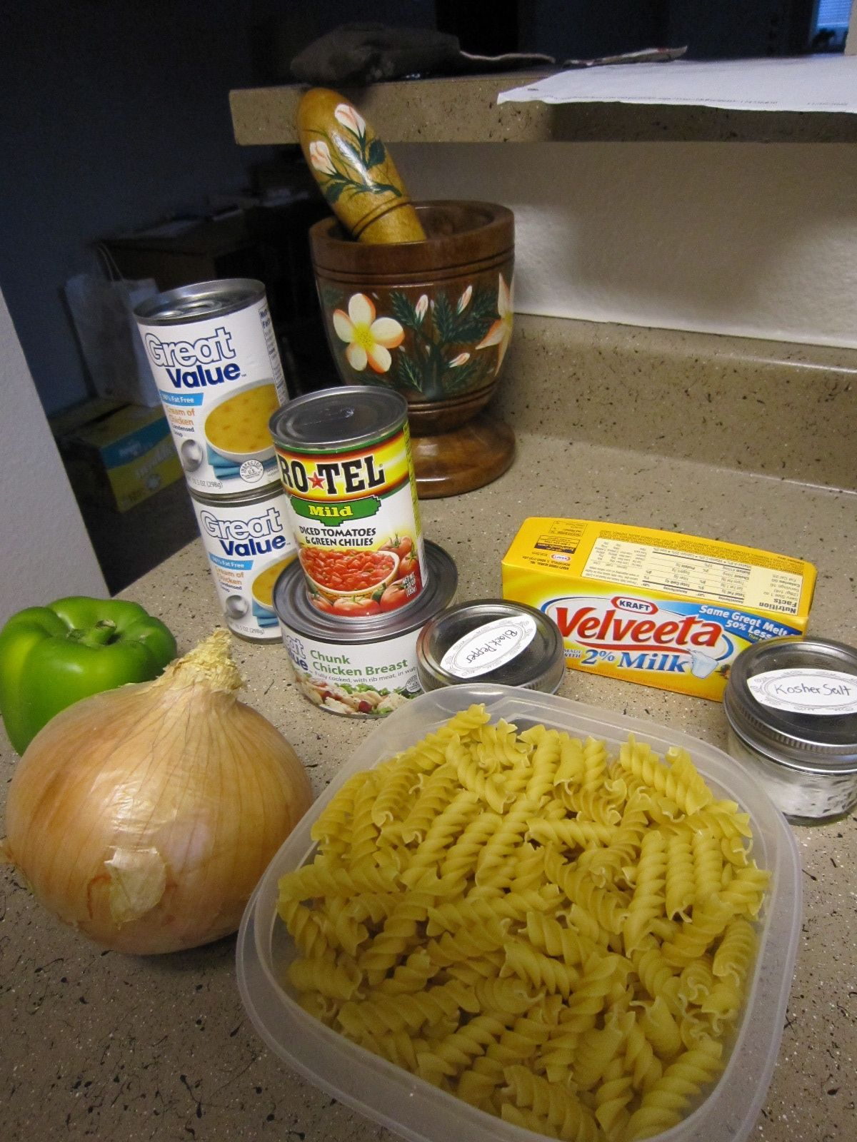Crockpot cheesy chicken pasta. I love this recipe! I cooked it today, but I added taco seasoning, fresh garlic, and diced chicken. I will be doing this quick meal again!