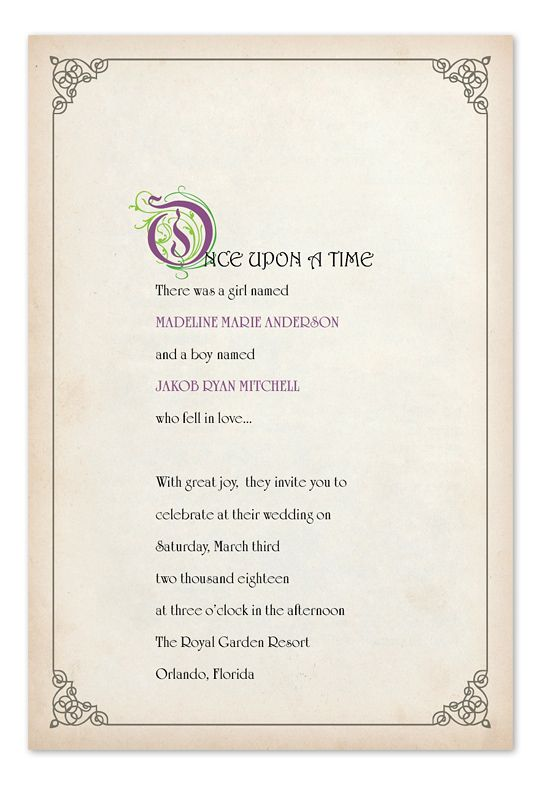 Story book ending wedding invitations by invitation for A storybook ending bridal prom salon