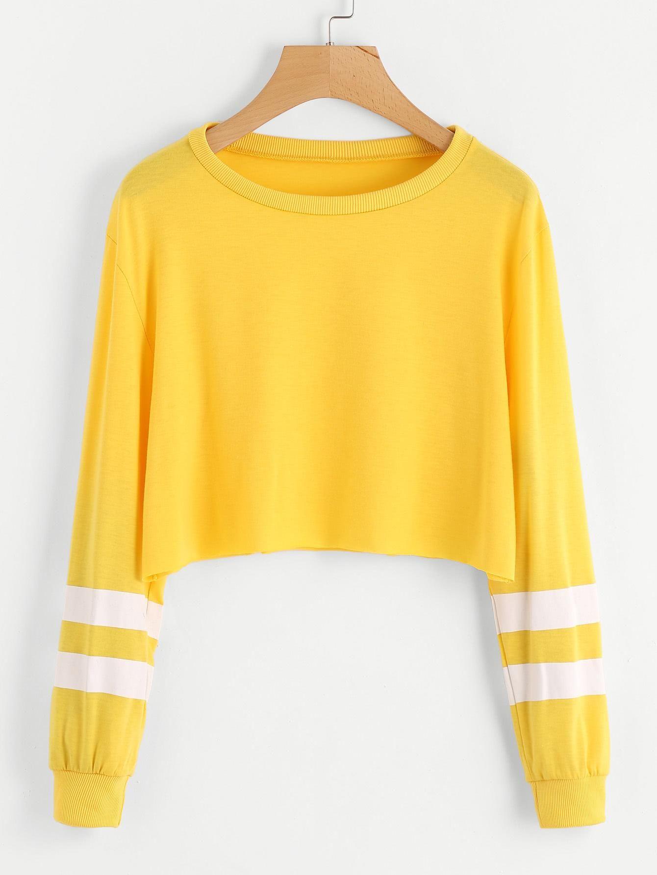 ROMWE -  ROMWE Varsity Striped Sleeve Crop Sweatshirt - AdoreWe.com ... d9f09d6bc0742