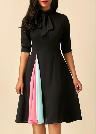 Patchwork Tie Neck Half Sleeve Black Dress Fall Dress Pinterest